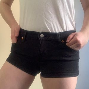 Levi's black denim shorts
